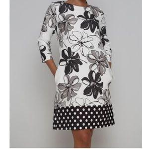 Floral & Polka dot 3/4 Sleeve pocket shift dress